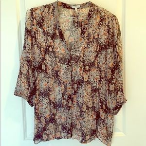 Joie flowy floral print navy and coral blouse